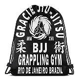 zhufeifan Bolsas de Cuerdas Gracie Jiu Jitsu Mochila con cordón Plegable para Deporte, Gimnasio, Playa, Yoga, Viaje, Unisex