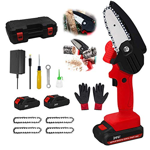 Mini Chainsaw Cordless Handheld 4-Inch Electric Portable Chain Saw with Battery 4 Chain and Splash Board 0.7kg Lightweight Pruning Shears Chainsaw for Tree Branch Wood Cutting,Mini Chainsaw red