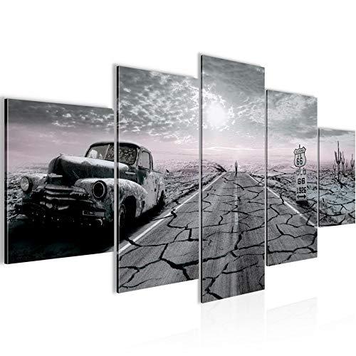 Peinture Voiture Route 66 5 Parties Impression sur Toile Intissee Decotacion Salon États-Unis Noir et Blanc 600352c