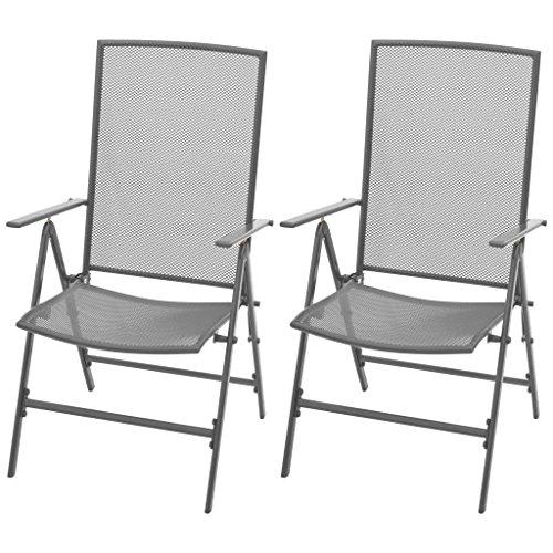 Tidyard 2 pcs Chaise Inclinable de Réglable et Plible Maille d'acier pour Jardin
