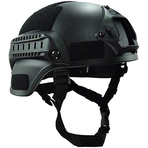 OneTigris Mich 2000 Aktion Version Taktische Helm ABS Helm mit NVG Halterung und seitliche Schienen (Schwarz)