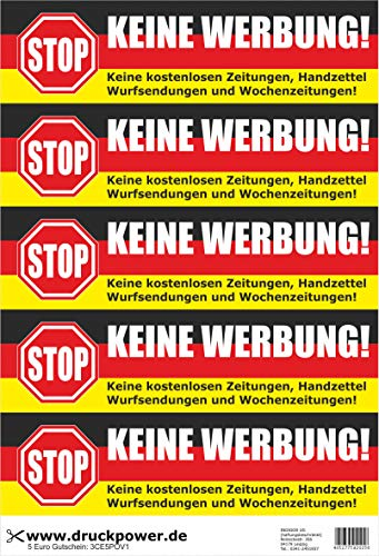 Keine Werben! 5 naklejek na skrzynki na listy Niemcy – czarno-czerwono-złoty – bez darmowych gazet, książeczek ręcznych, przesyłek rzucanych i gazet tygodniowych!