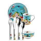 Puresigns ONE Toja 2050700 Service de table pour enfant en porcelaine et acier inoxydable poli Argenté 7 pièces