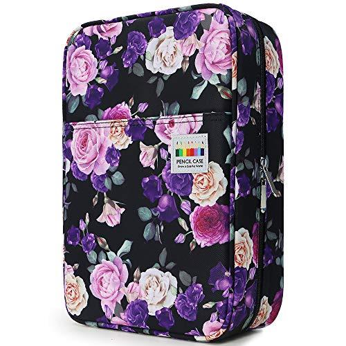 YOUSHARES Big Capacity Colored Pencil Case - 300 Slots Large Pen Case Organizer with Multilayer Holder for Prismacolor Colored Pencils & Gel Pen (Purple Pink Rose)