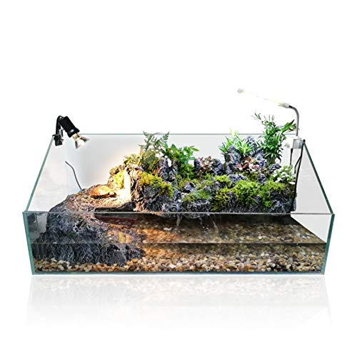 ScottDecor Calefacción de Mascotas Tortuga acuática Tank Platform Plataforma Filtro Bomba de Bomba de Luz Sustral Rainforest Kit Kit Aquarium Vivarium con Fondo de Cascada (Color : Medium)
