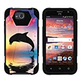 TurtleArmor   Compatible with ZTE Maven Case   ZTE Fanfare Case   ZTE Atrium Case [Dynamic Shell] Hybrid Duo Cover Impact Absorbent Shock Silicone Kickstand Hard Shell Animal - Dolphin Jump