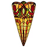 Amora Lighting Tiffany Style Wall Lamp Brown Yellow Red Flower 2 Light Stained Glass Vintage Antique for Bedroom Living Room 10' Wide 20' Tall Gift AM1079WL10B, Multicolored