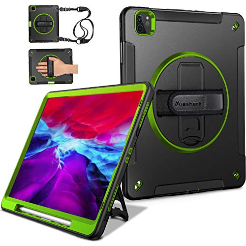 Miesherk iPad Pro 12.9 Case 2020 4th Generation/ 2018 3rd Gen (Wireless Apple Pencil Charging) Military Grade Shockproof Full-Body Protective Cover with 360° Rotating Stand&Hand/Shoulder Strap Green