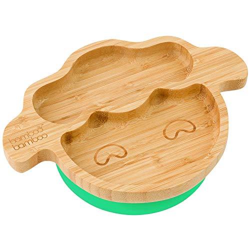 Lamm Baby Saugnapf-Teller, Standfeste Saug-Fütter-Teller, aus naturbelassenem Bambus