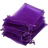 30X Pochette Sachet Sac Organza Violet Mariage 12x10cm