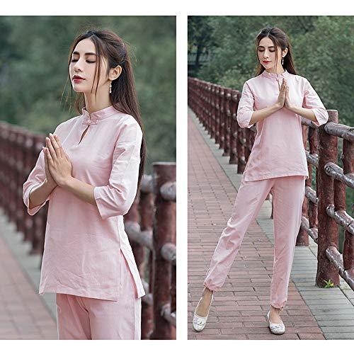 JTKDL Tai Chi kleding thee kleding damepak in Chinese stijl retro dames tweedelig pak van katoen en linnen