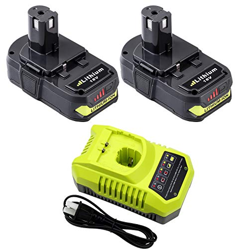 2 Packs 3.0Ah P102 18 volt Battery Replacement for Ryobi 18V Battery Lithium One+ P100 P103 P104 P105 P107 P108 P190 and P117 Charger for Ryobi 9.6V/12V/14.4V/18V Lithium Ni-Cd&Ni-Mh Battery