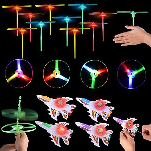 Herefun Favores de Fiesta para Niños, 18 Piezas Helicóptero Vuelo Juguete Volador Luminoso, Juguete Volador Luminoso para Niños, Niñas, Regalos de Cumpleaños Niños Juguetes Luminosos