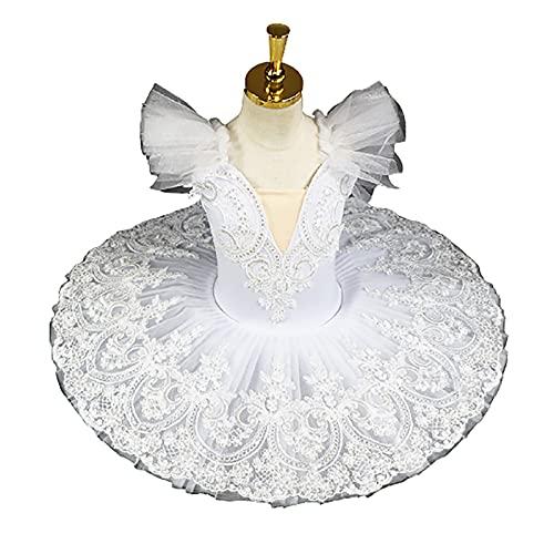 ZYLL Tutú de Ballet para niña Vestido de Ballet para niñas Ropa de Escenario para niñas Swan Lake Dance Bailarina Trajes de Fiesta Ropa,Blanco,100CM