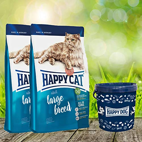 Happy Cat Adult Large Breed 2 x 10 kg = 20 kg + 1 x Futtertonne 20 Liter