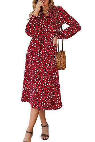 Edjude Vestido de Mujer Vestido Casual con Cuello en V Vestido Estampado Floral Manga Larga Fiesta Vestido Longitud Mediade
