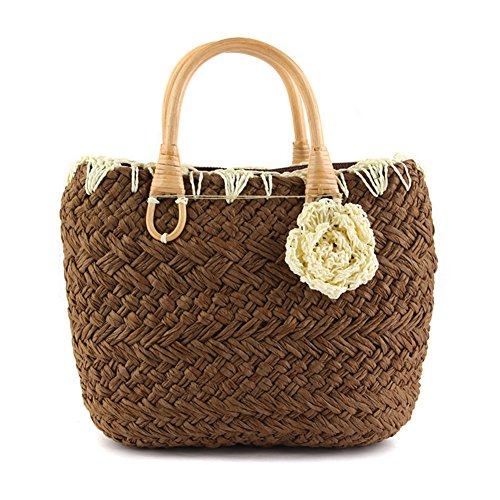 Fairysan - Bolso de mano para mujer, diseño de flores pequeñas, color marrón