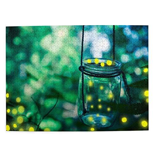 DAHALLAR Mittlere Größe Jigsaw-Puzzles 500 Stücke,Green Bokeh Firefly In Jar Bugs Gefangener Fang,der die Dämmerung bedeckt, Lustig Familienspiel Hängende Heimdekoration,20.4' x 15'