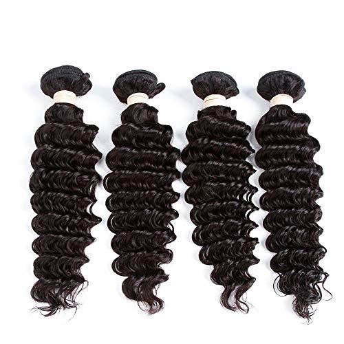 WYHP Braziliaanse Vikings Hair Deep Golvend haar pruik, Non-lijm Lace Wig for vrouwen, Onbehandelde Virgin Hair Lace Wig, Natural Black (Color : Black, Size : 26 inch)