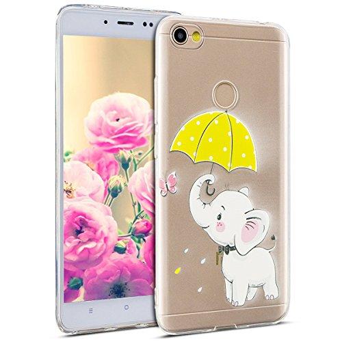 Uposao Kompatibel mit Hülle Xiaomi Redmi Note 5A Silikon Handyhüllen Schöne Muster Durchsichtige Ultradünn Schutzhülle Transparent Silikon Bumper Clear Backcover,Weiß Elefant