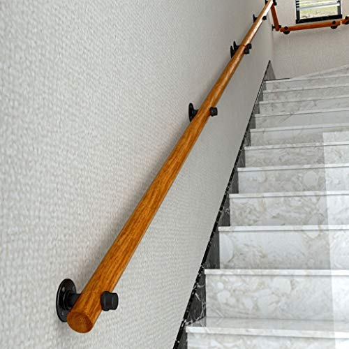 Pasamanos para escaleras de madera Pasamanos montado en la pared Barandilla de mano, barra de agarre de pino sólido industrial con juego de escaleras de tubos de hierro forjado, soportes de pasamanos