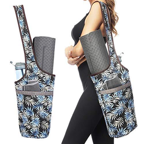 Ewedoos Yoga Taschen aus Baumwoll-Canvas für meisten yogamatte & Yoga-Zubehör (Blätter)