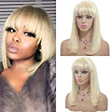 613 Blonde Bob Lace Wig with Full Bangs Human Hair for Women 13x4 Brazilian Remy Hair 150% Density Pre Plucked Lace Front Wigs with Fringe 10' Bleached Knots