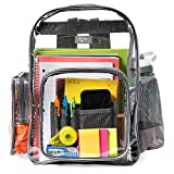 LYTek Heavy Duty Clear Backpack with Laptop Sleeve and Security Pocket, See Through Backpack with Sturdy Stitches and Durable Military Grade Nylon Bottom, Unisex for School, Work, Stadiums.-Large