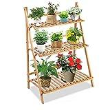 Bamboo Plant Stands Indoor Outdoor Plant Shelf 3 Tiered Flower Pot Stand Holder Multi Tier Flower Display Rack Shelves for Patio Garden Corner Balcony Yard,27.6' x 15.8' x 38.2'