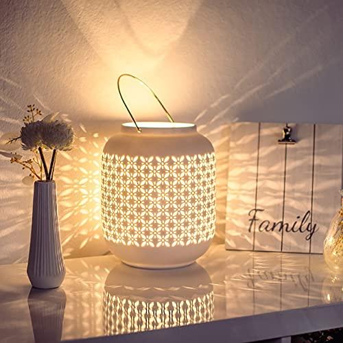 VOLIOS® Keramik Tischlampe ink. 4 Watt LED Birne I Dekolampe I Nachttischlampe I Tischleuchte weiß I beleuchtete Deko (Laterne)