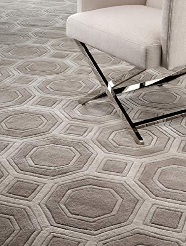 Casa Padrino Wollteppich Braun/Grau - Verschiedene Größen - Handgetufteter Teppich aus Neuseeland Wolle, Grösse Teppich:300 x 400 cm