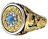 XIRENZHANG S925, gioiello in argento con dodici cerchi di animali, no palazzi, anello trasferibile alla moda, anello da uomo, personalità, anello dominante, blu 25#