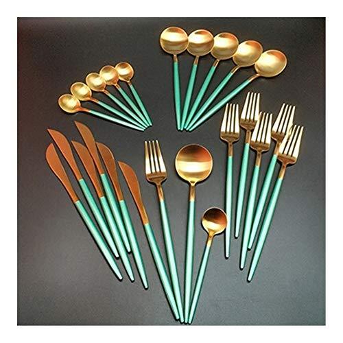Groothandel 24 stuks roestvrij staal goud bestek keuken accessoires vorklepel zakmes diner set (Color : Green gold 6 set)