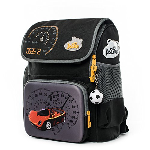 Delune Primary School Backpack for Boys with Lovely Cartoon Football Off-road Vehicle Printing Water-resistant Elementary School Bookbag for Kids Pupils
