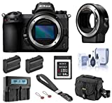 Nikon Z6 FX-Format Mirrorless Digital Camera Body, Complete Bundle with FTZ Mount Adapter, 64GB XQD Card, 2 Extra Battery, Dual Charger and Accessories