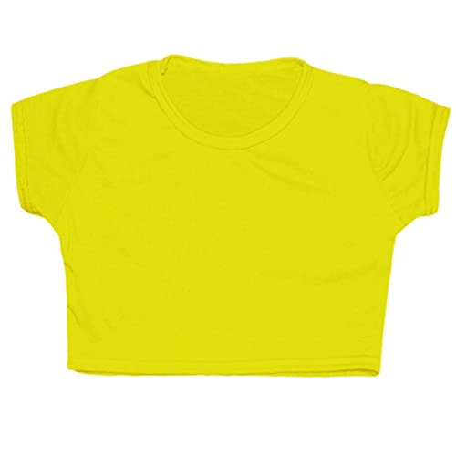 e090b7bd76f0 Kids Girls Neon Plain Short Sleeves Crop Belly Dance Sports Gymnastic Tops  Age: 5-