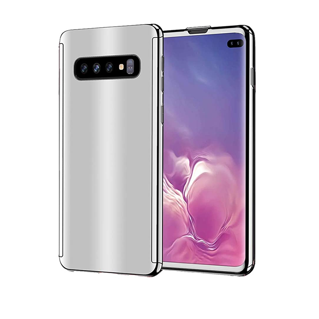 Anyos Galaxy S10 Plus case, Ultra-Thin 360 Full Protection Plating Mirror Shockproof Hard Metal PC Glass Cover with Tempered Glass Screen Protector for Samsung Galaxy S10+ (Silver)