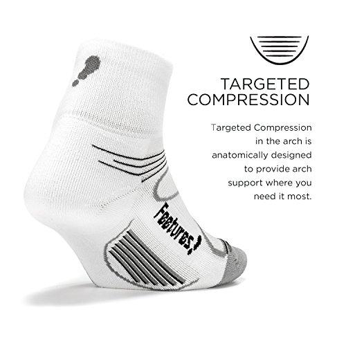 Feetures Men's Elite Light Cushion Quarter Socks, Boots, Stockings, White / Black, S / 34-37