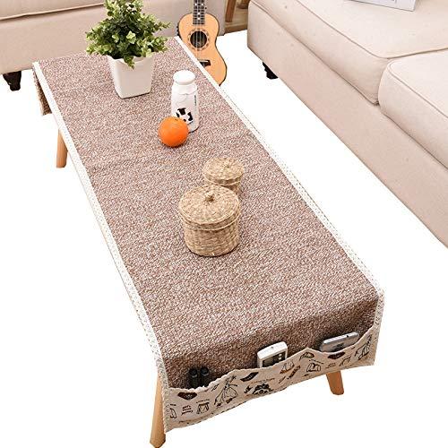 Poids lourd coton lin tableau étanche à la poussière couverture tissu polyester rectangulaire table cloth vacances élégance conçu-brun 60x180cm(24x71inch)