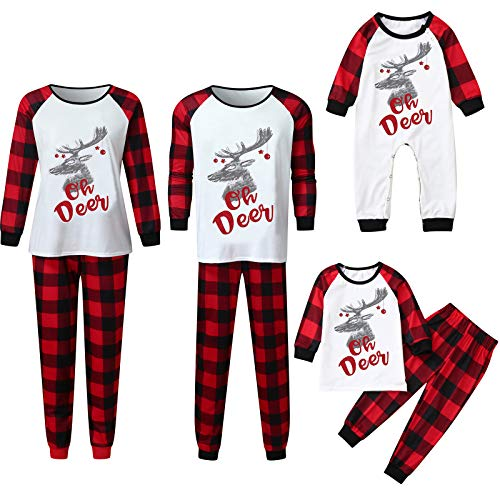 Oh Deer - Matching Family Christmas Pajamas Sets for Women Men Boys Girls Plaid Parent-Child Sleepwear for Kids & Adult Red
