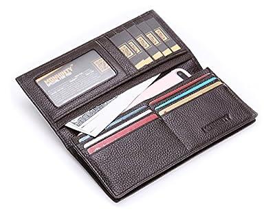 Men's RFID Blocking Genuine Leather Credit Card Long Bifold Wallet Case Brown
