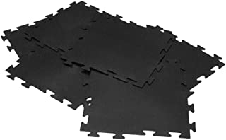 Rubber-Cal Armor-Lock (Fitness) Interlocking Rubber Tiles - 3/8 x 20 x 20 inch - Black Gym Mats