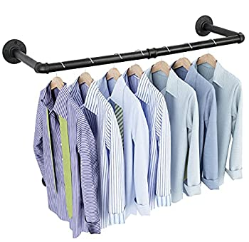 OROPY Industrial Pipe Clothes Rack 38.4  Heavy Duty Detachable Wall Mounted Black Iron Garment Bar Multi-purpose Hanging Rod for Closet Storage Black  Two Base