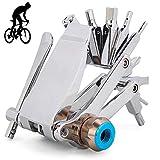 EastMetal 16 Set/Aleación Herramientas Reparación Bicicletas de Montaña, Kit Herramientas Bicicleta Plegable, Herramienta de Multifunción, Se Puede Conectar a Un Cilindro de Nitrógeno, CR-V