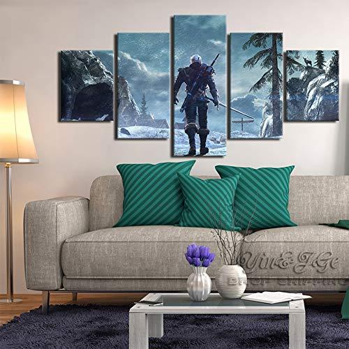 XLST HD Druck Leinwand Ölgemälde Spiel Bild 5 Stücke Witcher 3 Wilde Jagd Wohnkultur Wohnzimmer Kunstwerk Poster,A,10x15x210x20x210x25x1