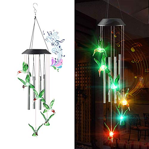 YeeMair Solar Wind Chimes Outdoor, Hummingbird Changing Color Hanging LED Lights , Waterproof for Outside, Garden, Patio, Yard, Home Decor, Housewarming Gifts