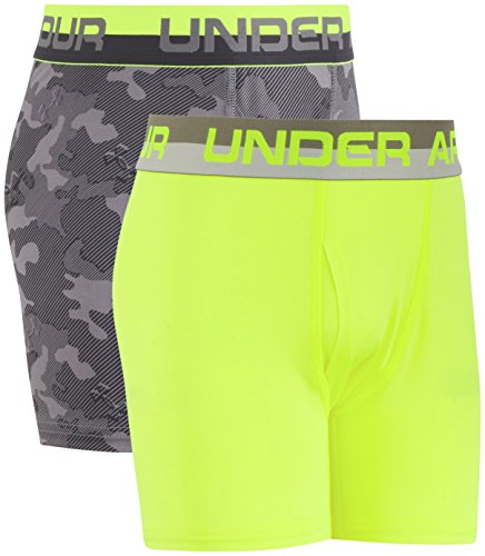 Under Armour Big Boys' 2 Pack Performance Boxer Briefs, Graphite/Yellow, Youth Small