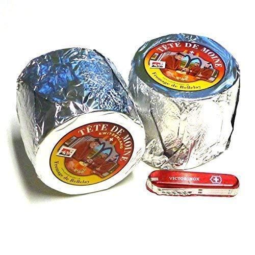 Tete de Moine Käse AOP 2 ganze Laibe ca 1700g + Schweizer Schokoladen Taschenmesser