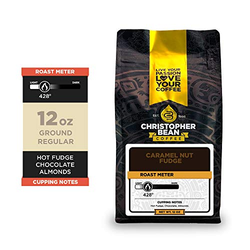 Christopher Bean Coffee - Caramel Nut Fudge Flavored Coffee, (Regular Ground) 100% Arabica, No Sugar, No Fats, Made with Non-GMO Flavorings, 12-Ounce Bag of Regular Ground coffee