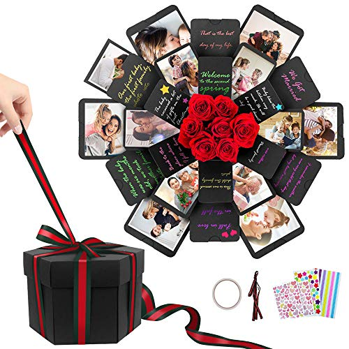 Greenke Explosion Box Love box Creative Album Gift Box Love Memory DIY Photo Album Scrapbook for Mothers Day Christmas New Year Wedding Birthday Anniversary Gifts - Hexagon